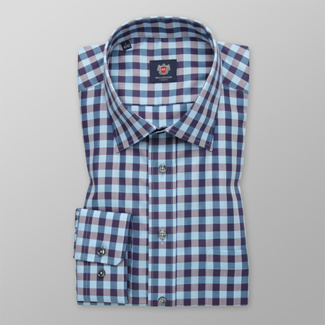 Men classic shirt with blue-gray pattern 12402, Willsoor