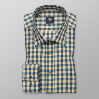 Men shirt in Slim Fit design with a blue-yellow pattern 12403, Willsoor