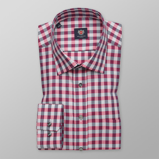 Men's classic shirt with pink-grey pattern 12406, Willsoor
