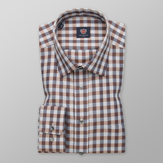 Men's classic shirt with a brown-grey pattern 12410
