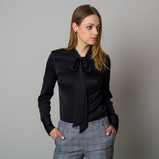 Women's shirt in black color with tied collar 12421, Willsoor