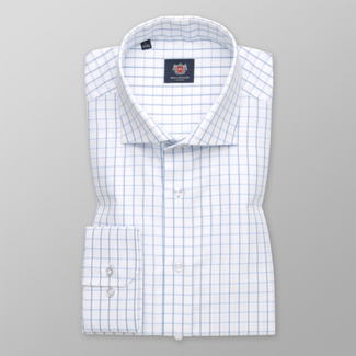 Men's classic shirt with blue checkered pattern 12425
