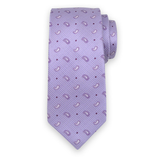 Silk light purple tie with Paisley pattern 12437