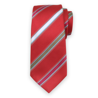 Silk red tie with striped pattern 12446