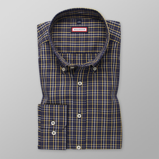 Men's Slim Fit shirt in dark blue with check pattern 12449