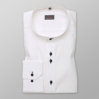 Men's Slim Fit shirt in white with smooth pattern 12450