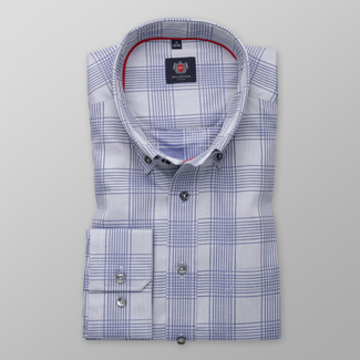 Men's classic fit shirt in blue with check pattern 12451