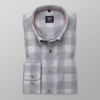 Men's classic shirt in grey with check pattern 12452