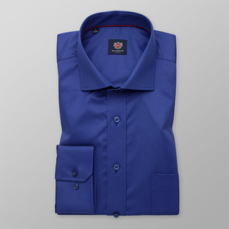 Men's classic shirt in blue with smooth pattern 12460, Willsoor