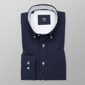 Men's classic shirt with white polka dot pattern 12464