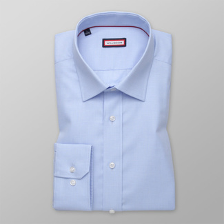 Men's Slim Fit shirt in light blue with check pattern 12465, Willsoor