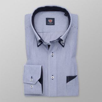 Men's Slim Fit shirt with blue striped pattern 12473