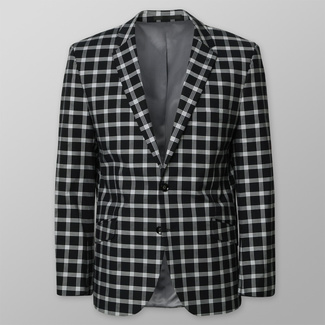 Men's suit jacket black with white checked pattern 12493