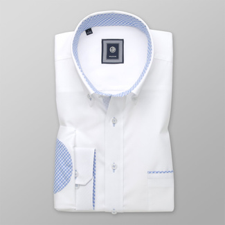 Men´s Classic Fit shirt with blue check elbow pads 12501, Willsoor
