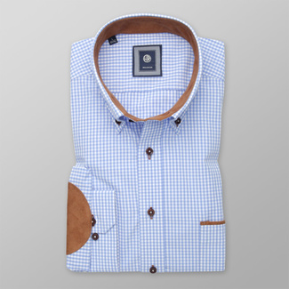 Men's Classic Fit shirt in blue with brown elbow pads 12506, Willsoor