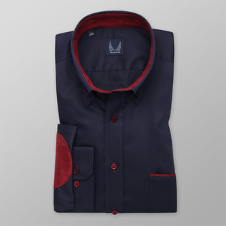 Men's classic shirt in dark blue with claret elements 12516