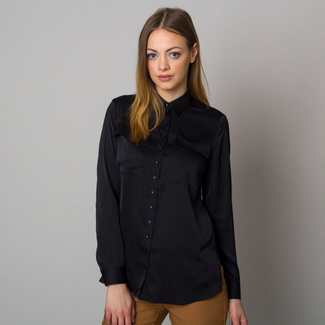 Women's shirt in black color with smooth pattern 12529, Willsoor