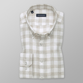 Men's shirt Slim Fit in beige colour a white pattern 12534, Willsoor