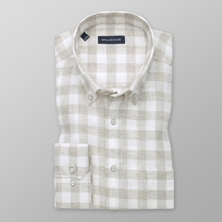 Men's classic shirt with a beige and a white pattern 12535, Willsoor
