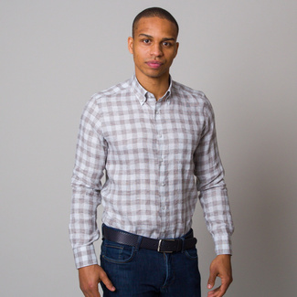 Men's Slim Fit shirt with blue a brown pattern 12536, Willsoor