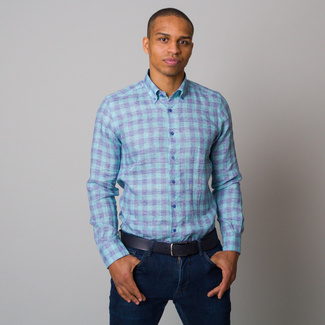 Men's Slim Fit shirt with blue and green pattern 12538, Willsoor