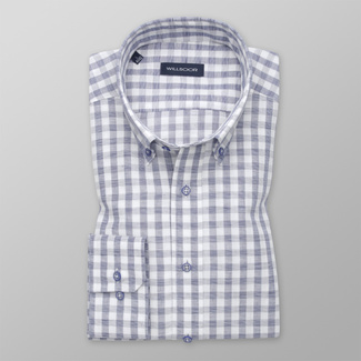 Men's Slim Fit shirt with blue-white pattern 12540