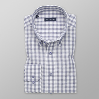 Men's classic shirt with blue-white pattern 12541, Willsoor