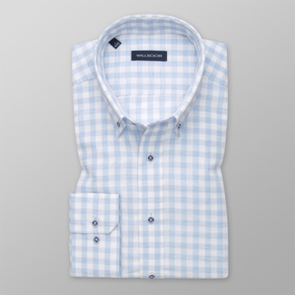 Men's shirt Slim Fit with light blue-white pattern 12542