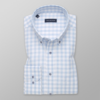 Men's classic shirt with light blue-white pattern 12543