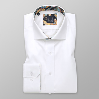 Men shirt Slim Fit white with floral elements 12546
