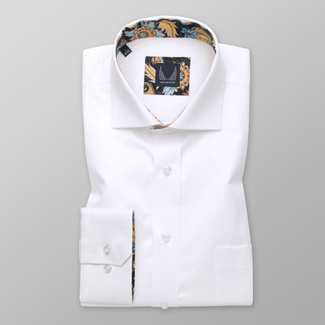 Men's classic white shirt with floral elements 12547