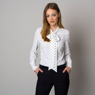 Women's white shirt with long bow a dots 12550, Willsoor