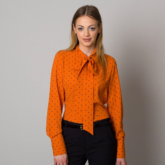 Women shirt orange with long bow a dots 12552, Willsoor