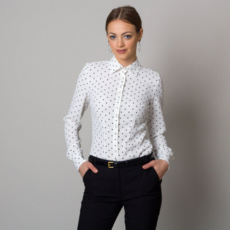 Women's shirt in white color with dots 12553, Willsoor