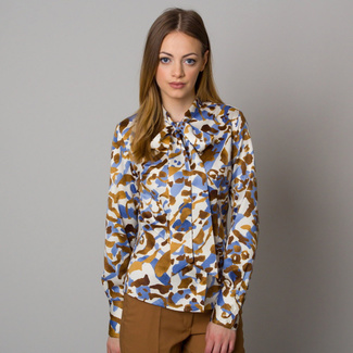 Women's shirt with fine pattern and a long bow 12557, Willsoor
