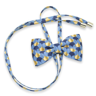 Women's bow tie with blue and gold geometric pattern 12593