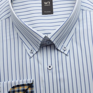 Men shirt classic blue with striped pattern 12600, Willsoor