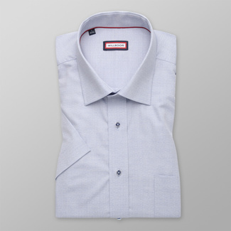 Men's shirt classic light grey with gentle pattern 12607