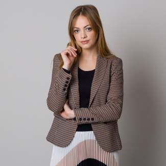 Women's blazer with blue-brown pepito pattern 12612