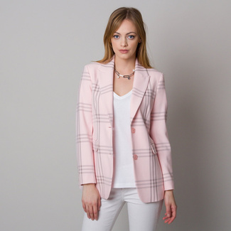 Women's blazer light pink with checkered pattern 12613