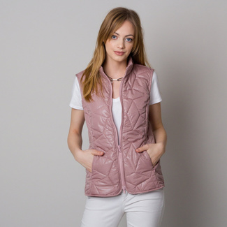 Women's quilted vest pink with delicate pattern 12614