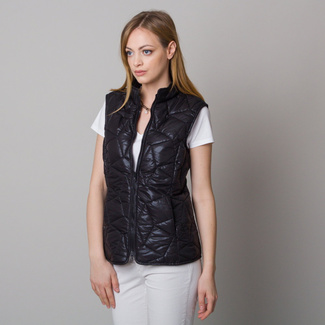 Women quilted vest black with gentle pattern 12615