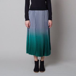 Pleated midi skirt with blue-green shaded 12624