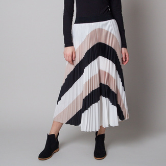 Pleated midi skirt with black and beige stripes 12625