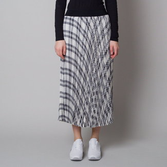 Pleated midi skirt with delicate checkered pattern 12626