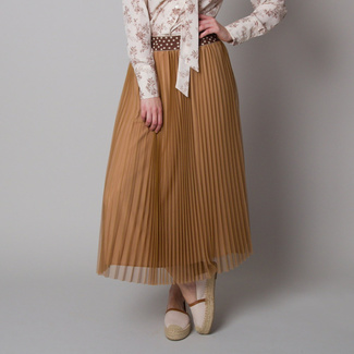 Pleated midi skirt brown color 12627
