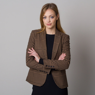 Women's blazer with black and brown pepito pattern 12628
