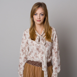 Women shirt with long bows a floral pattern 12630