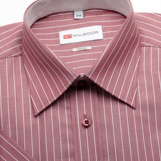 Men classic shirt with short sleeve (height 176-182) 1263 in claret color