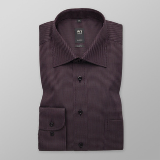 Men's classic shirt in dark purple with fine pattern 12658